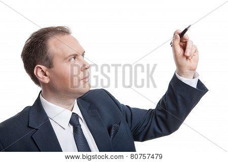Portrait Of Businessman Writes