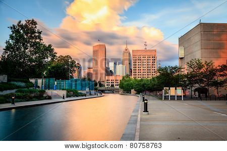 Indianapolis skyline at sunset