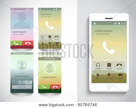 Mobile calling interface design with smart phone presentation on beige background.