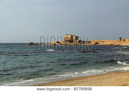 Restaurant by the harbor at Caesarea Maritima National Park
