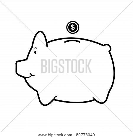 Piggy Bank Isolate On White Vector.eps
