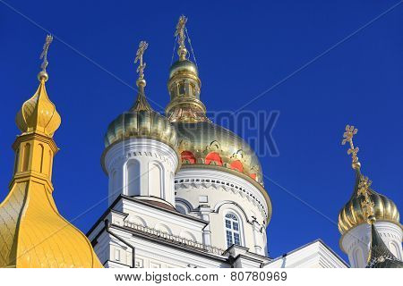 Pochaev's Lavra Cupola at nice day, Ukraine
