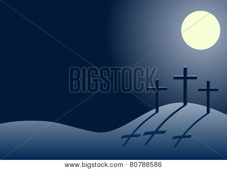 three crosses on Calvary at night