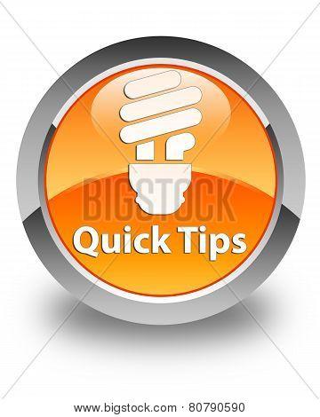 Quick Tips (bulb Icon) Glossy Orange Round Button