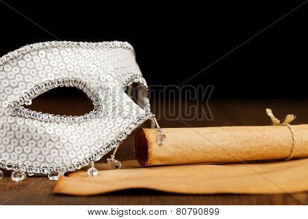 White Mask With Old Paper Scroll
