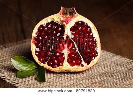 Half-cutted Pomegranate On Canvas