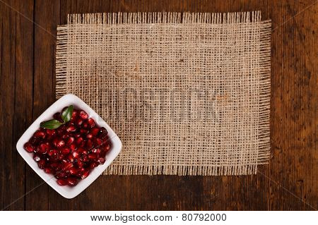 Grenadine Seeds In White Plate