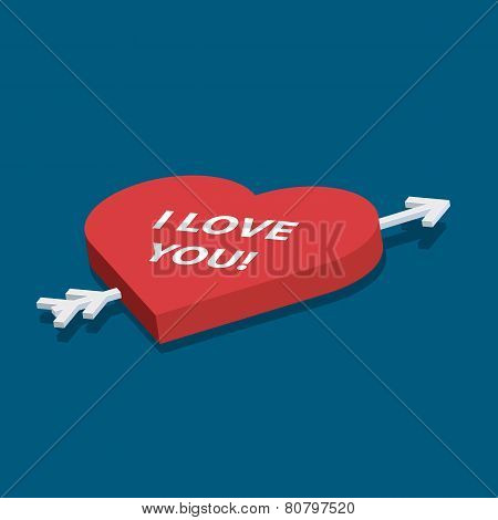 Isometric vector heart with love you text