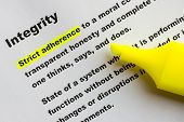 Main key words of integrity definition is highlighted in yellow color poster