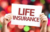 Life Insurance card with colorful background with defocused lights poster