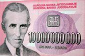 inflation cash, ten milliard dinara, Nikola Tesla poster