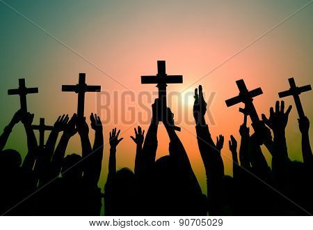 Hands Holding Cross Christianity Religion Faith Concept
