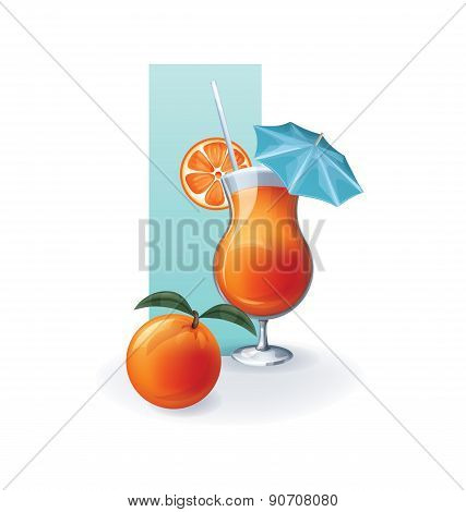 orange  in goblet of juice, cocktail, smoothie