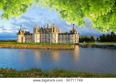 Chambord chateau at sunset, France