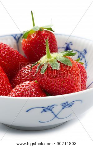 Bowl Of Succulent Ripe Red Strawberries