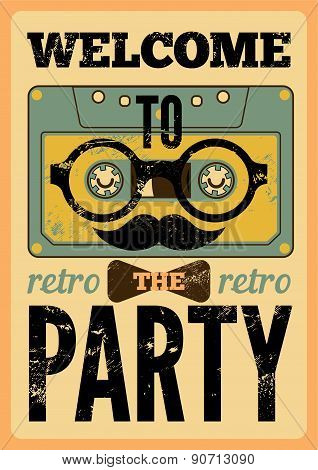 Typographical Retro Party poster design with funny audio cassette hipster character. Vintage vector