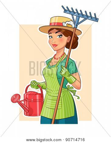 Gardener girl with rake and watering can. Eps10 vector illustration. Isolated on white background