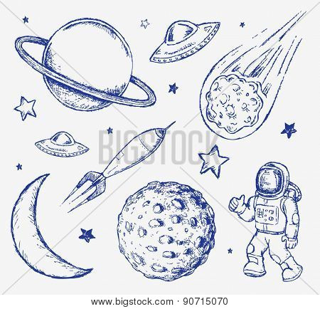 Space doodle set hand drawn vector elements