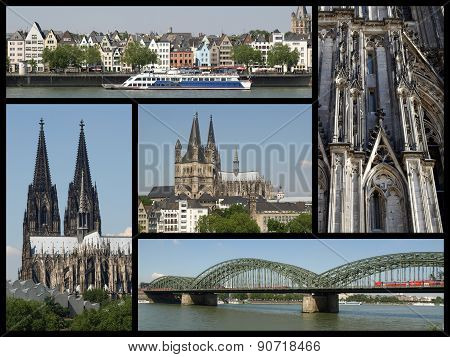 Landmarks collage of the city of Koeln Germany poster