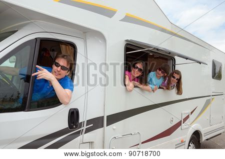 Family vacation, RV travel with kids, happy parents with children on holiday trip in motorhome