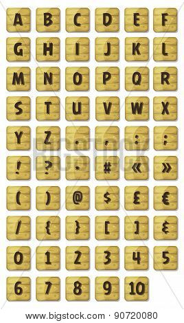 Alphabet Font Set On Wood Signs