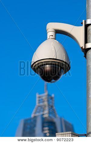 Surveillance Cameras of Office Building Under Blue Sky