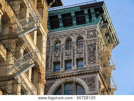 Architectural Ornament And Copper Cornice, Building Facade, Soho, New York