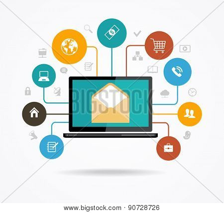 The concept of electronic mail. Marketing design. Modern design computer and an envelope surrounded by colored glass of icons. The file is saved in the version AI10 EPS.