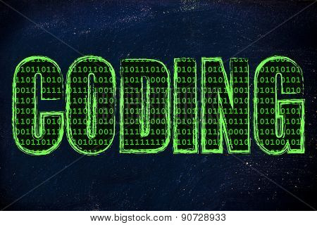 Illustration Of The Word Coding With A Binary Code Pattern