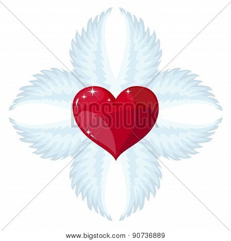 Cross- angel wings and a heart in the middle