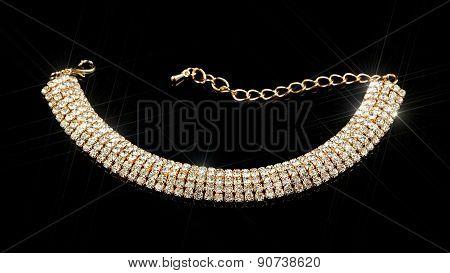 Gold Diamond Bracelet On Black Background