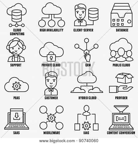 Set of vector linear cloud computing icons - part 1 - vector icons poster