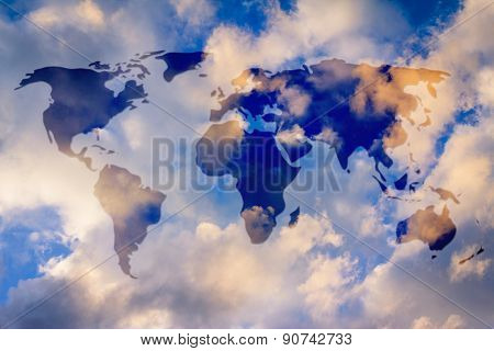 World Map Overlay In Semi-transparence Over A Sky Background