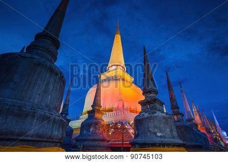 Ancient Pagoda in Wat Mahathat temple Nakhon Si Thammarat Southern of Thailand