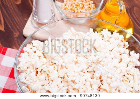 Popcorn And Ingredients For Cooking Popcorn Top View