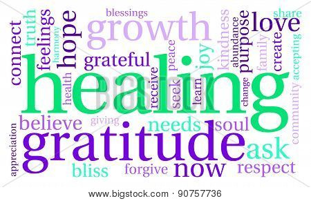 Healing word cloud on a white background. poster