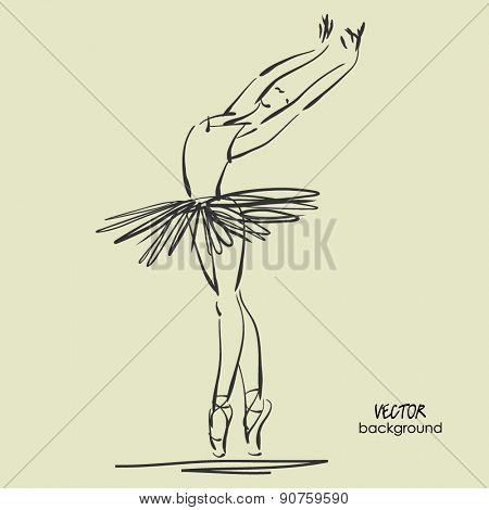 art sketched beautiful young ballerina with tutu in pose of dance. Vector illustration