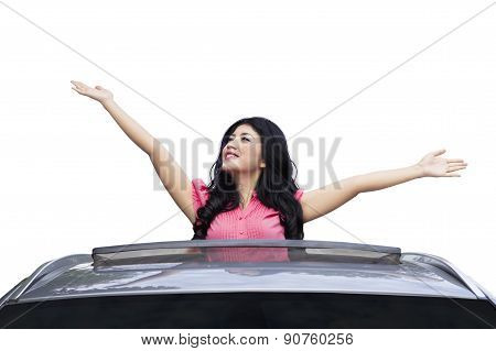 Happy Woman In New Car