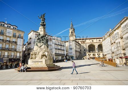 Some tourist are visiting famous Virgen Blanca square on March 6 2015 in Vitoria Spain.