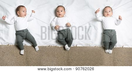 Set of poses Cute baby boy lying on a blanket