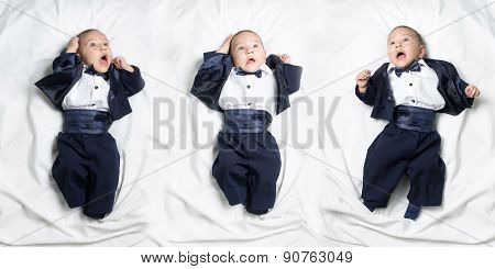 Set of poses, cute worried baby boy wearing an elegant suit with bow tie