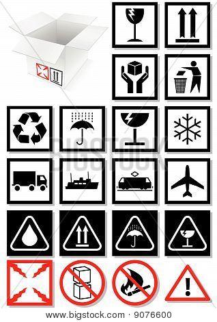 Vector illustration set of packing symbols and labels.