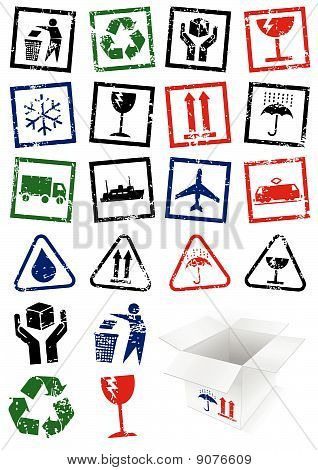 Vector illustration set of packing symbol stamps.