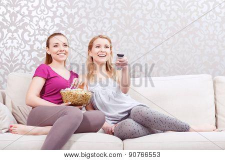 Watching movie at pajamas party