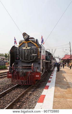 Ayuthaya Thailand -march 28 : Locomotive Trains Parking In Bangpain Railways Station On Special Trip