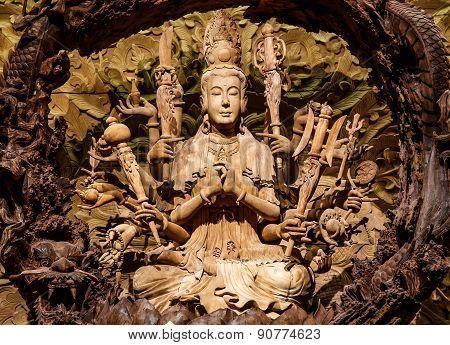 Guan Yin Wood Carving