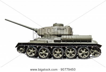 Legendary Soviet tank at war in the second world war isolated on white background. Russia. Focus on gun turret poster
