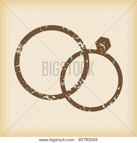 Grungy wedding rings icon