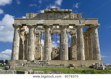 poster of Ruins of ancient hellenic city Selinunte - Temple E. Selinunte was the most westerly Hellenic colony of Greece in the part of Sicily. It was founded in 650 BC by colonists from Megara Hyblaea. The ancient city was destroyed (most probably by earthquake) a