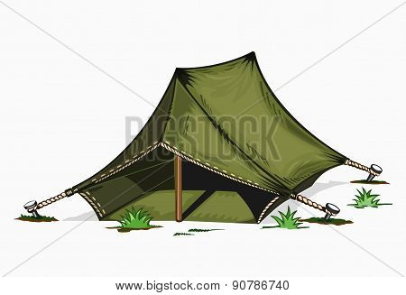 Illustration of painted tent.